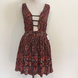 NWT FREE PEOPLE ONE Mid length Dress, red,